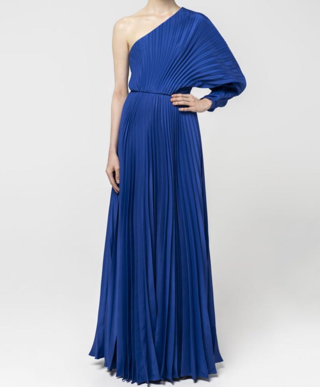 Maxi one-shoulder plisse dress Zeus + Dione